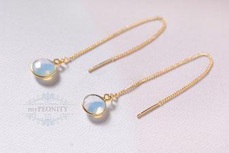 einfädler thread threader lange ohrhänger kette kleiner opalit hellblau