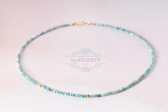 Gefädelte Halskette Amazonit vergoldetes Silber
