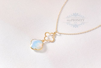Anhänger Kette Kleeblatt Opalit Halskette