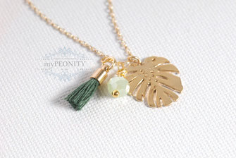 Monstera Blatt Kette Anhänger quaste kristall stein grün vergoldet