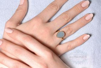 Blauer Chalzedon Tropfen Silber Ring vergoldet
