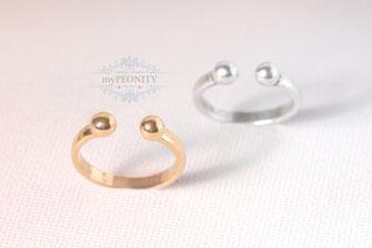 Offener Ring Kugeln gold silber anpassbar