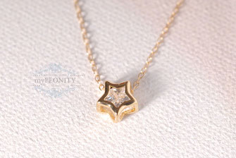 Gold Star Zirkonia Stern Kette Anhänger