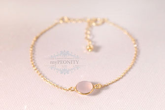 rosa chalzedon armband silber vergoldet