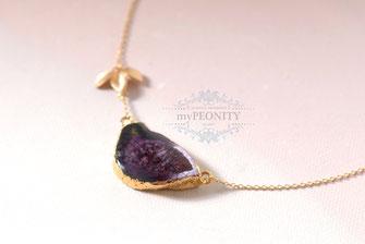 Achat Scheibe Druzy Anhänger lila schwarz Blatt vergoldete Halskette