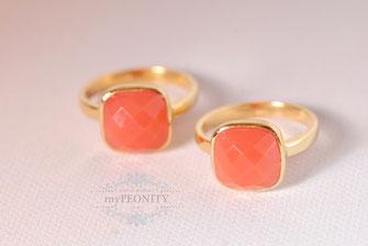 coral korallen chalzedon kissen ring silber vergoldet