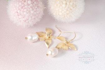 blumen orchideen süßwasser perlen vergoldete ohrringe