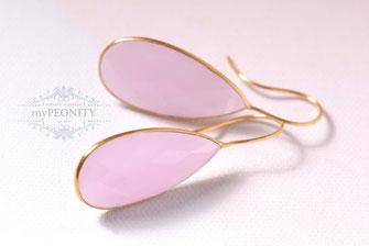 große edelstein chalzedon tropfen rosa facettiert ohrhänger ohrhacken
