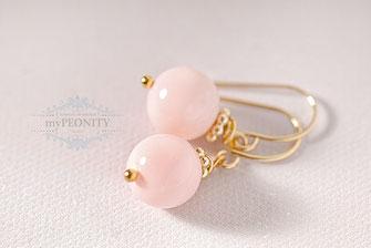 pastell rosa muschelkern perlen ohrringe vergoldet