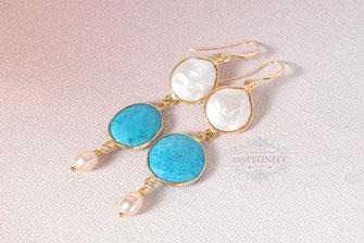 Türkis Ohrringe Perlen vergoldet lange groß statement