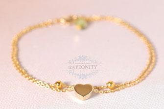 gold herz doppeltes armband vergoldet