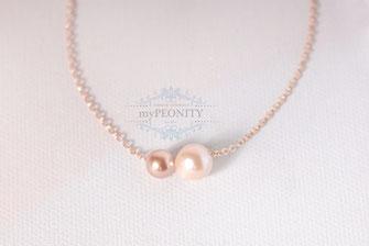 Perlen Duo zwei Perlen Rosè vergoldete Kette