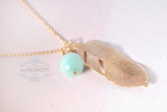 Große Feder Aqua Jade lange Halskette mypeonity