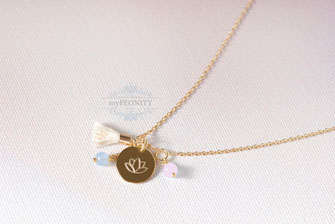 Lotusblume lotus blüte Mini Quaste Chalzedon Halskette