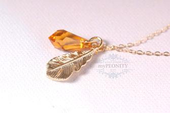 Amber Feather Feder Kristall Tropfen