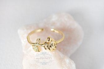 Ring - Rose vergoldet offen anpassbar