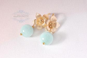 aqua blaue jade perlen blumen blüten ohrringe ohrhacken vergoldet