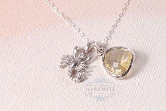 Skorpion - Silber, Citrin, Kette 925, Sternzeichen