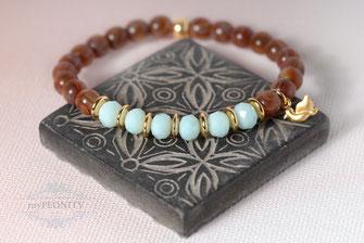 Elastisches Kristall Armband Türkis Braun Gold