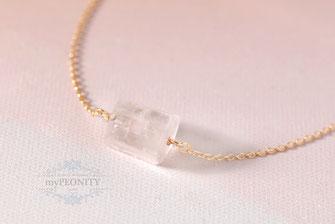 Zylinder Bergkristall Anhänger Halskette