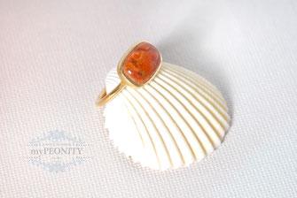 Schaumkoralle Korallen Ring vergoldetes Sterlingsilber mypeonity