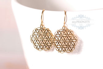 flower of life lebensblume ohrringe gold