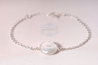flache perle coin armband sterlingsilber silber