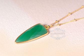 Green Onyx vintage lange Satelliten Kette vergoldet