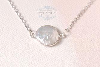 Münzen Perle - Anhänger Sterlingsilber, Halskette