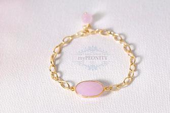 Glieder Armband modern Rosenquarz oval gold geschenkidee