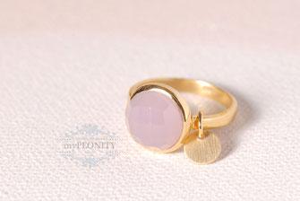 Rosa Chalzedon rund Silber Ring vergoldet
