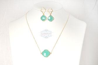Einzeln Set Kleeblatt Halskette Ohrringe mypeonity