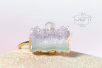 Lavendel Amethyst Druzy Ring vergoldet statement