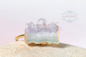 Lavendel Amethyst Druzy Ring vergoldet statement