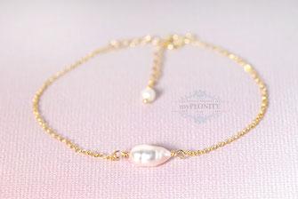 Single Pearl einzelne Perle zartes Armband silber vergoldet