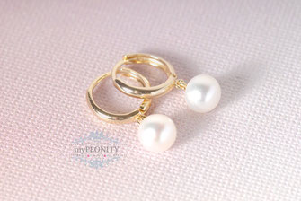 Mini Kreolen Süßwasser Perlen Buttons Gold Silber