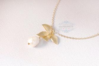 Orchideen Blumen Blüten Anhänger Halskette Perle