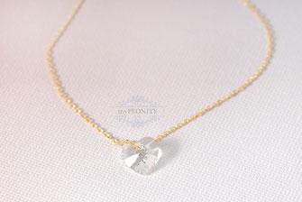 Petit kristall Herz zarte Halskette floating heart sterlingsilber vergoldet