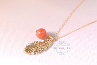 Coral Feather Feder Korallen Kette