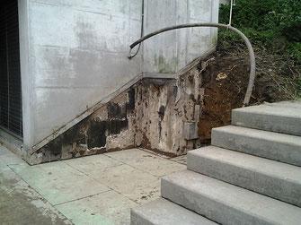 Freigelegtes Flachdach. Das Leck lag im Bereich des Kamins.