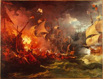 1797年アルマダの海戦を描いた「無敵艦隊の敗北」