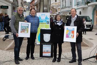 Eröffnen die Ausstellung: v.l. Günter Wagner, Dr. Christine Kunert,  Elinor Bucher und Gerhard Hahn