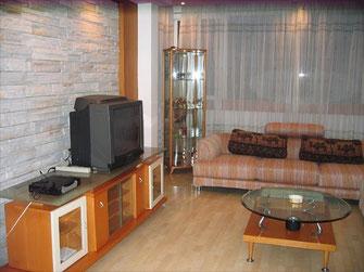 Ein gemütliches Wohnzimmer in einer Mietwohnung. Leider war das Foto ein Jahr alt. Der Vormieter brauchte nur ein Jahr, um sämtliche Möbel und Wände völlig zu zerstören.