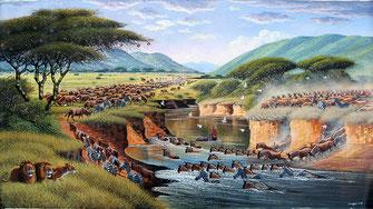Attraversamento fiume Mara. Dipinto di Geoffrey Mugwe