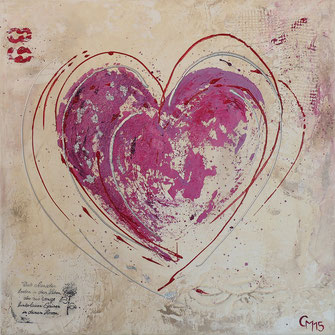 Herz, Acrylcollage, pink, shabby chic look, Acryl, cmcolorart