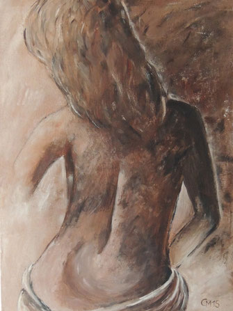 weiblicher Akt, Rücken, Acryl, cmcolorart