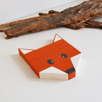 Puzzle en bois pour bébé renard origami. Puzzle unique fabriqué en France.