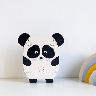 Puzzle en bois pour bébé ou enfant panda mingon, kawaii. Puzzle noir et blanc animal. Création unique fabriquée en France.