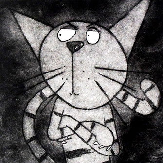 'No Way Jose' Cat Etching Print