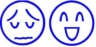 左は今年も最下位で悲しむ気持ち。右は坊主にならずにすんで助かった気持ち。